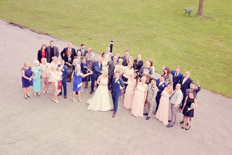 Paul McHutcheon, Laura Guthziet, Wedding Party, Aerial Shot, Pearman Photography, Vintage, Wedding