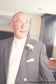 Mr Fay, Father of the Bride, Pearman Photography, Richard Johnson, Jesmond, Wedding, Peach, Buttonhole, Bride reveal