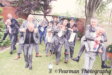 Piggy Backs, Suits, Men at a wedding, Lisa Fay, Richard Johnson, Pearman Photography, Wedding, Jesmond