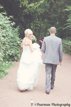 Walking, Bride and groom, Cheeky wink, alternative portrait, Lisa Fay, Richard Johnson, Pearman Photography, Wedding, Jesmond
