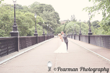 Ballroom Pose, top of bridge, Wideshot, Lisa Fay, Richard Johnson, Pearman Photography, Wedding, Jesmond