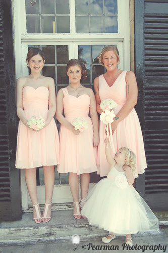 Bridesmaids on the Balcony, Pearman Photography, Paige Rowland, Anthony Battista, Vintage Wedding, Kirkley Hall, Pink and White Colour Theme, Country Theme