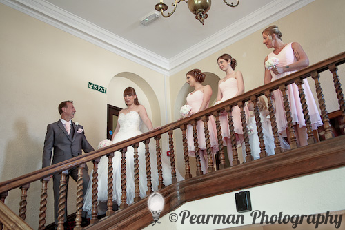 Walk to the aisle, Staircase, Country House, Pearman Photography, Paige Rowland, Anthony Battista, Vintage Wedding, Kirkley Hall, Pink and White Colour Theme, Country Theme