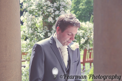 Waiting Groom, Pearman Photography, Paige Rowland, Anthony Battista, Vintage Wedding, Kirkley Hall, Pink and White Colour Theme, Country Theme