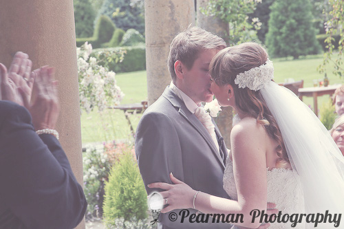 First Married Kiss, Pearman Photography, Paige Rowland, Anthony Battista, Vintage Wedding, Kirkley Hall, Pink and White Colour Theme, Country Theme