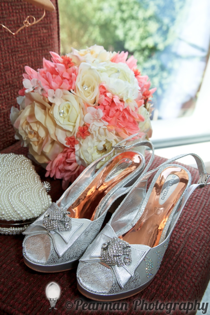 Pearman Photography, Wedding, Boutique, Wedding Shoes, Bridal Preparations, Peach and Ivory, Silk Flowers Bouquet