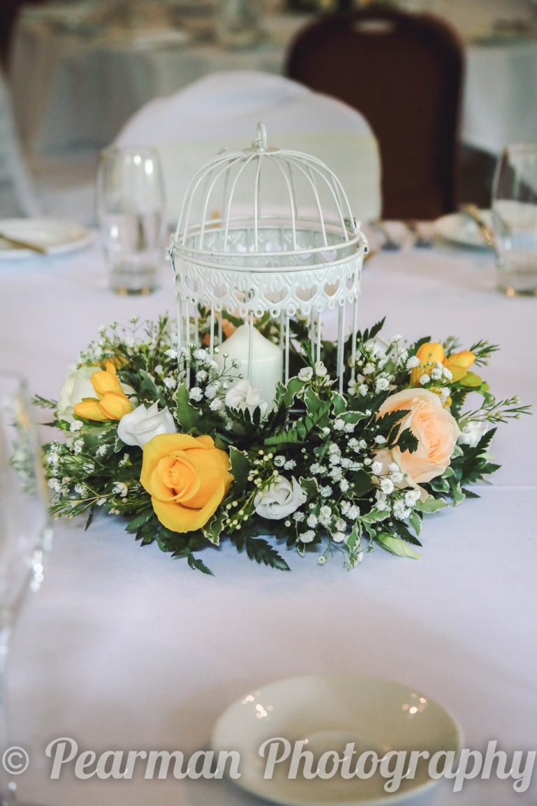 A Floral centre-piece on a Wedding table