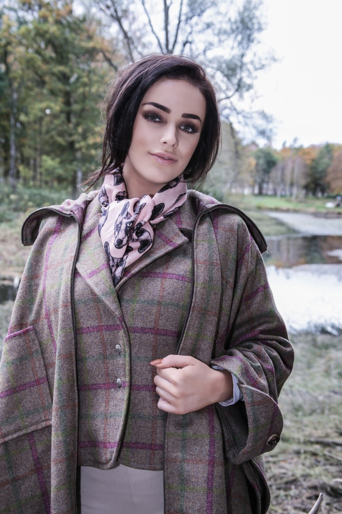 Pure Silk Pink Fox Head Scarf teamed with Laland & Bo Country Tweeds