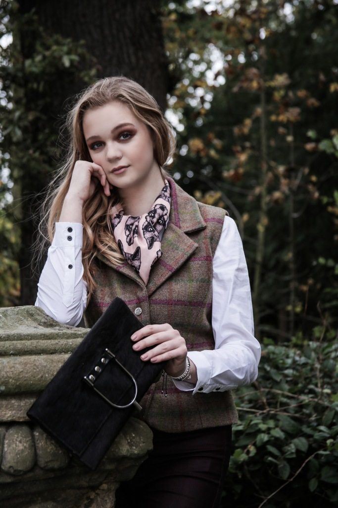 Pure Silk Pink Fox Head Scarf teamed with a Laland & Bo waistcoat, and a stirrup cowhide clutch