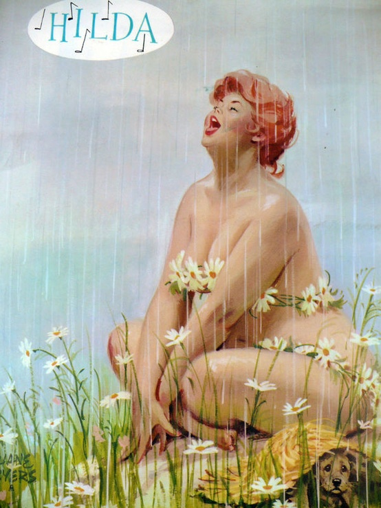Pin-Up Hilda dressed in Daisy chains, drinking the falling rain