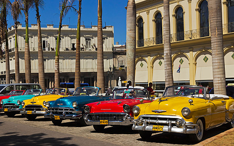 Colorful Old American Taxi Cars in Havana Cuba